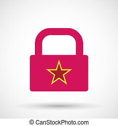 Isolated lock pad icon with the red star of communism icon -...