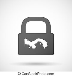 Isolated lock pad icon with the Panama map - Illustration of...