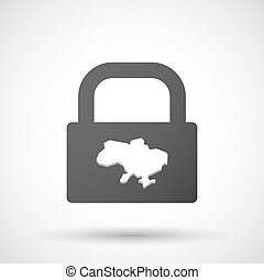 Isolated lock pad icon with the map of Ukraine -...
