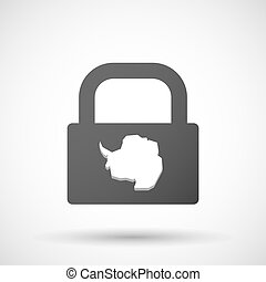 Isolated lock pad icon with the map of Antarctica -...