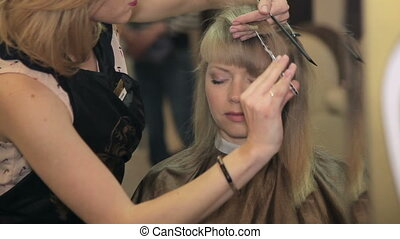 Women's haircut. hairdresser - Women's haircut in beauty...