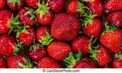 Fresh Strawberry Close-up Rotating.