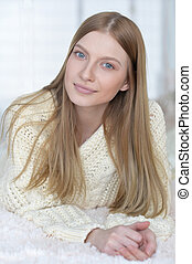 Beautiful blond girl - Portrait of beautiful girl with blond...