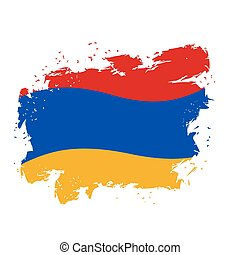Armenia flag Grunge style on gray background. Brush strokes...