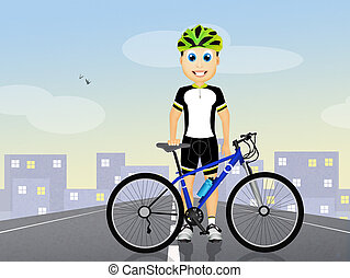 man cyclist with bicycle