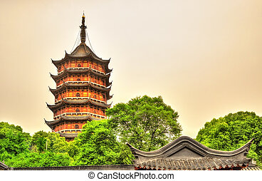 The Beisi Pagoda at Baoen Temple in Suzhou, China - The...