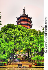The Beisi Pagoda at Baoen Temple in Suzhou, China - Smiling...