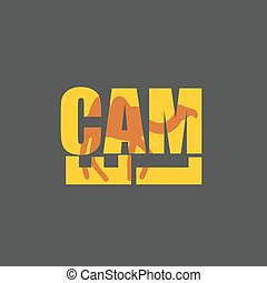 Camel silhouette text. Animal Desert and Typography....