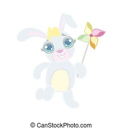 Rabbit Playing With Toy Windmill Illustration In Cute Girly...