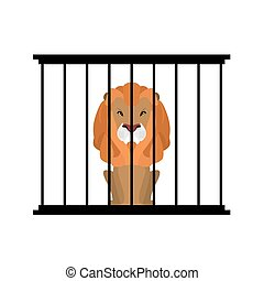 Lion in zoo cage. Strong Scary wild animals in captivity. Big hairy predator behind bars