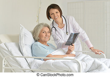Senior woman in hospital