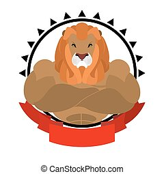 Lion athlete round emblem. Big wild animal with shaggy mane. Beasts of prey with big muscles. Logo for sports club team. fitness sign