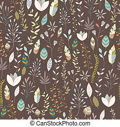 Seamless pattern design with hand drawn flowers, floral...