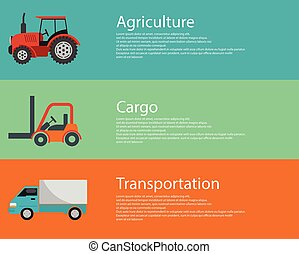 Vector modern creative flat design logistics and agriculture vehicles. Cargo truck, forklift and tractor
