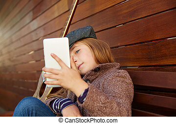 blond kid girl taking selfie guitar and winter beret - blond...