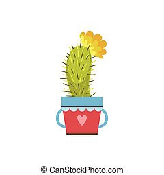 Small Blooming Cactus In A Pot