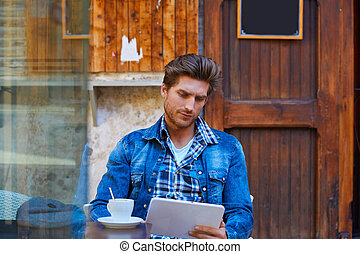 tableta, joven,  PC, Tacto,  café, hombre