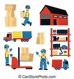 Set Of Illustrations With Storehouse Workers In Simplified...