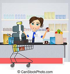 supermarket cashier - illustration of supermarket cashier