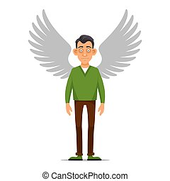 Hipster Businessman with Wings Angel in flat style Vector...