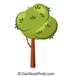 Thick tree icon, cartoon style - Thick tree icon in cartoon...