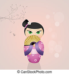 kokeshi, Ilustración, muñeca
