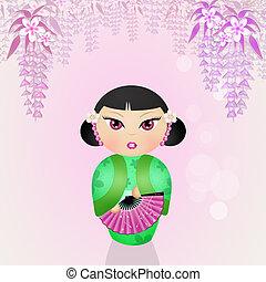 Japanese kokeshi doll - illustration of Japanese kokeshi...