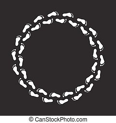 circle foot steps - round circle white foot steps on black...
