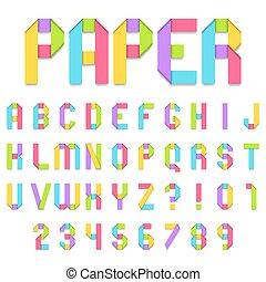 Folded Color Paper Font