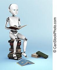 3D rendering of a robot child sitting on a pile of books.