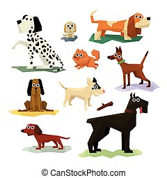 Different Dog Breeds Set Of Bright Color Simplified...