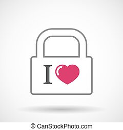 "Isolated lock pad icon with  an "" I like"" glyph"