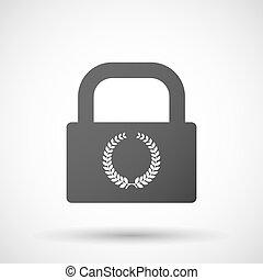 isolado, fechadura, almofada, ícone, com, Um, laurel,...