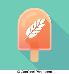 Long shadow ice cream icon with a wheat plant icon -...