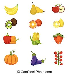 Fresh Fruits And Vegetables Icon Set Of Bright Color Cartoon...