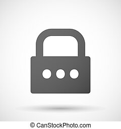 Isolated lock pad icon with an ellipsis orthographic sign -...