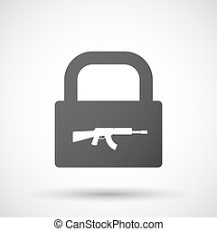 Isolated lock pad icon with  a machine gun sign