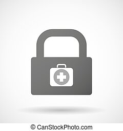 Isolated lock pad icon with a first aid kit icon -...