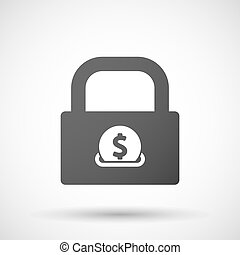 Isolated lock pad icon with a dollar coin entering in a...