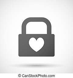 Isolated lock pad icon with the heart poker playing card...