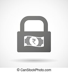 Isolated lock pad icon with a rupee bank note icon -...