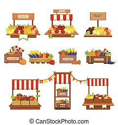 Vegetables Market Stands Set Of Simple Style Flat Vector...
