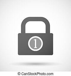 Isolated lock pad icon with a coin icon - Illustration of an...