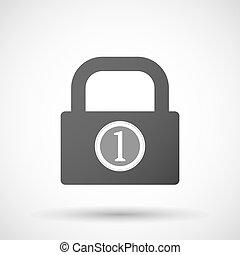 isolado, fechadura, almofada, ícone, com, Um, moeda,...