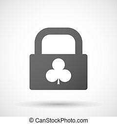 Isolated lock pad icon with the Club poker playing card sign...
