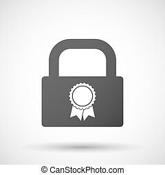 Isolated lock pad icon with a ribbon award - Illustration of...