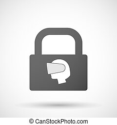 Isolated lock pad icon with a female head wearing a virtual...