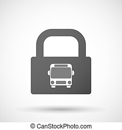 Isolated lock pad icon with a bus icon - Illustration of an...