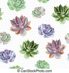 Seamless colorful succulents - Bright succulents of...