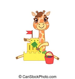 Giraffe Building A Sand Castle Outlined Flat Vector...